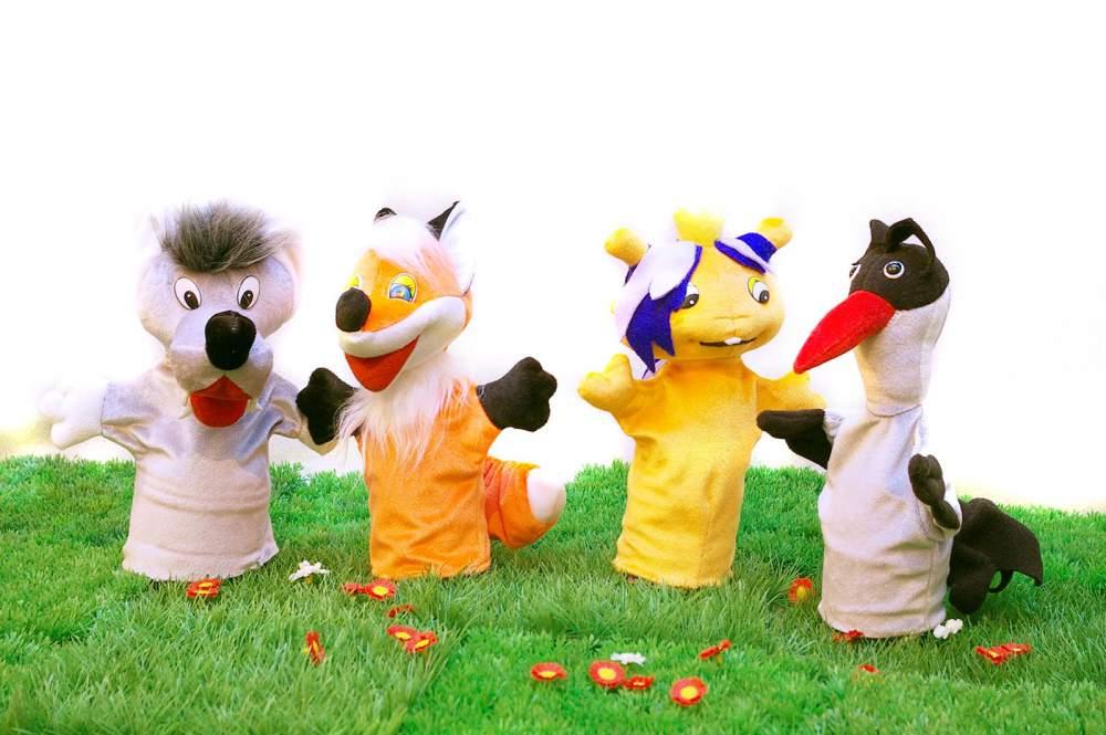 """Купить Кукольный театр из перчаточных кукол. Мини-театр №5 """"Лиса и волк """", """"Лиса и журавль"""""""