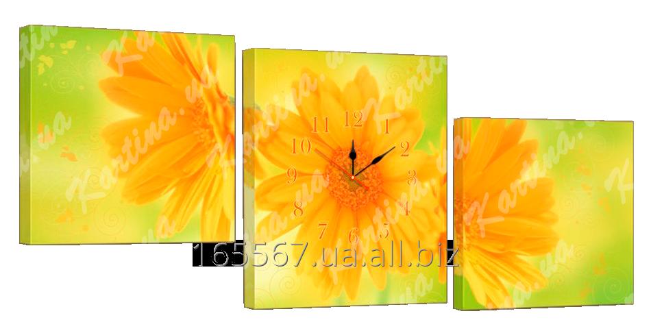 Картина модульная с часами 27 желтые цветы 27T
