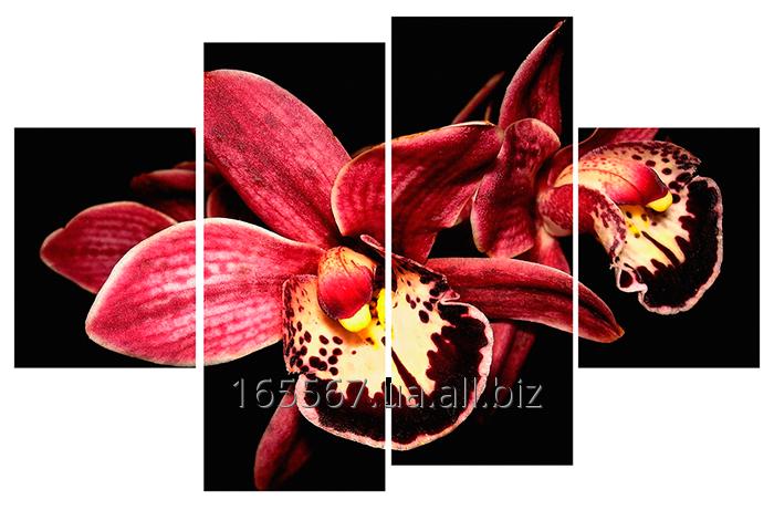 Картина модульная с часами 80 орхидея 80T