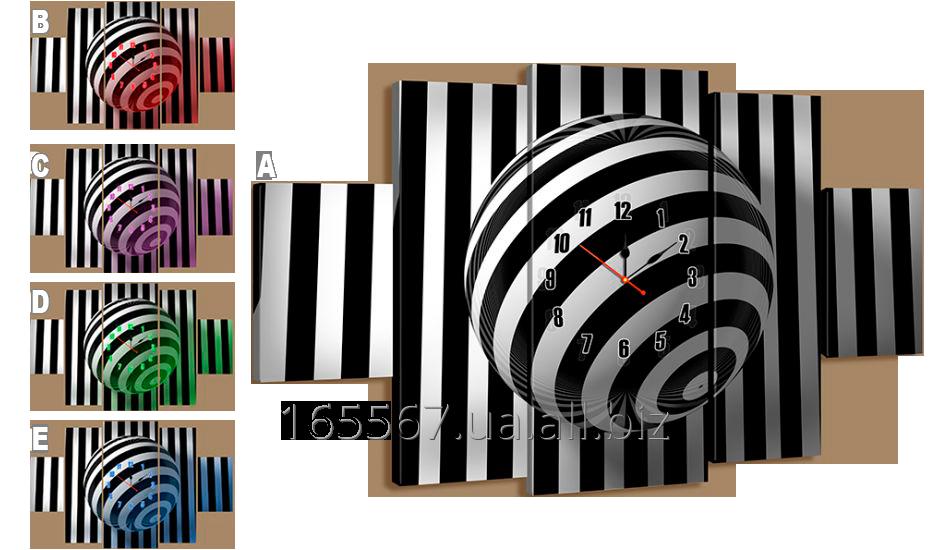 Картина модульная с часами 233 полосатый круг 233T
