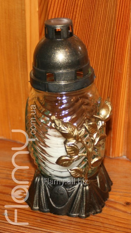 Лампадка 18К-01, стеклянный корпус, декор Роза, время горения 18 часов