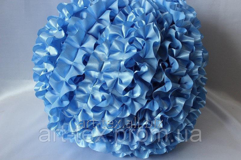 Рюши - атлас, 5см*50м Голубой