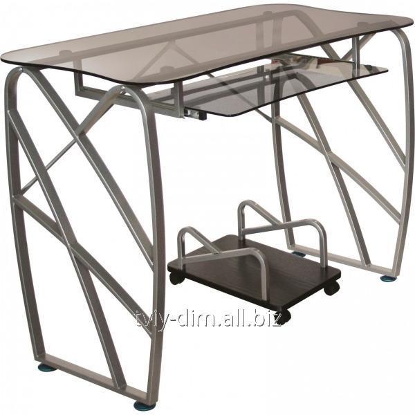 Компьютерный стол AMF ST-S1221 стекло серое/ножки серебристые