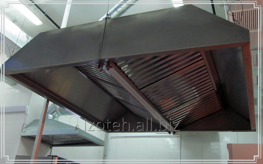Купить Зонт вытяжной островной (тип 2) из нержавеющей или оцинкованной стали