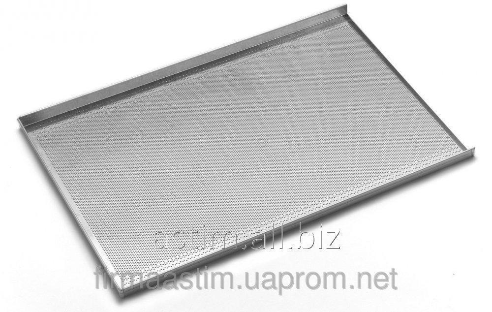 Противень для выпечки - с трёхсторонней обортовкой, алюминия, 600x400 мм - перфорированный 808214