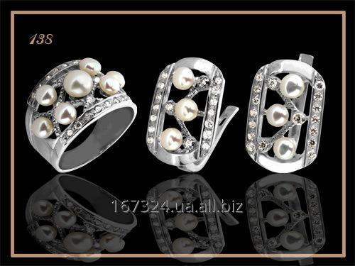 Набор серьги и кольцо с жемчугом