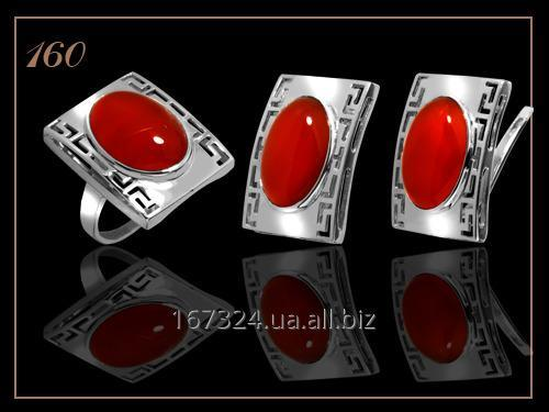 Набор кольцо и серьги с камнем