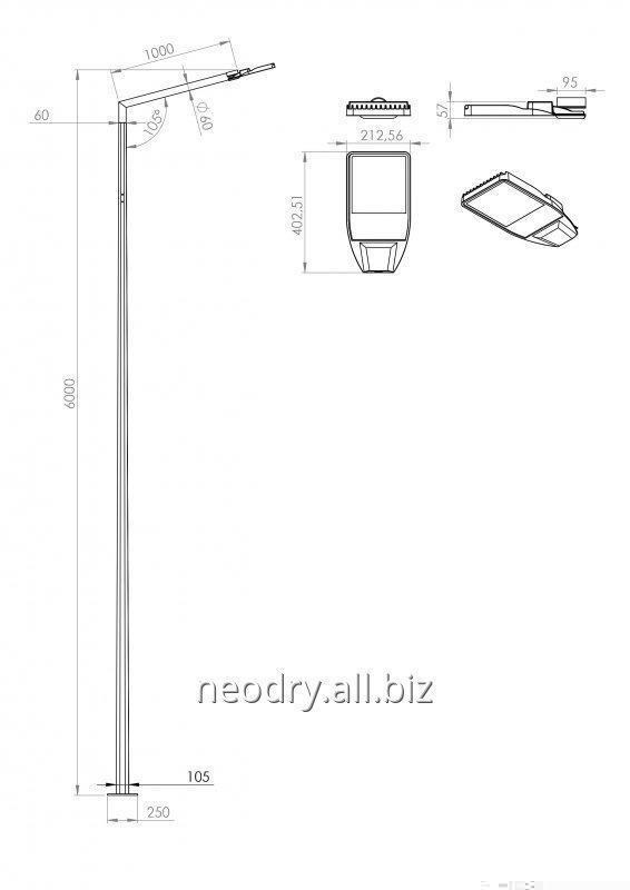 Оцинкованный столб 6 метров для уличного освещения
