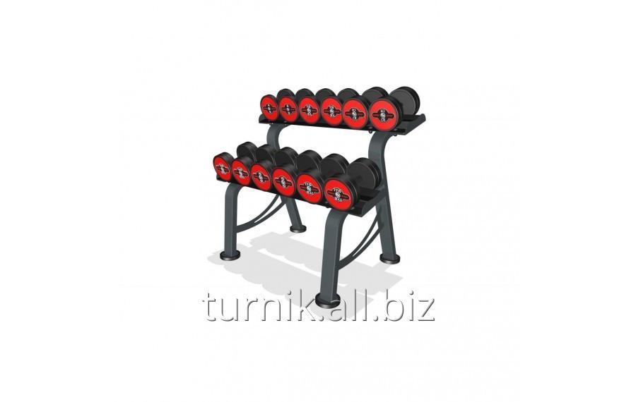Купить Обрезиненные гантели со стойкой 5-32.5 кг (код GRM-7)