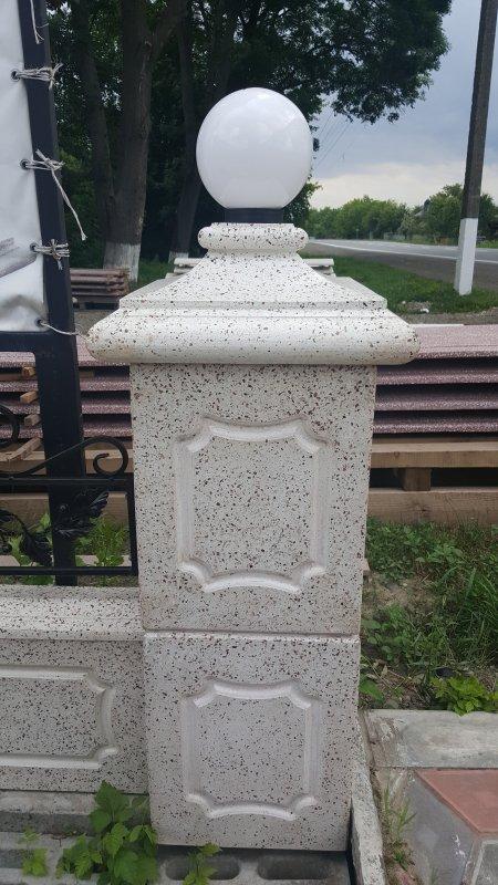 """Колонный блок для заборов + цветник """"Тумба"""", бетонный с мраморной крошкой"""