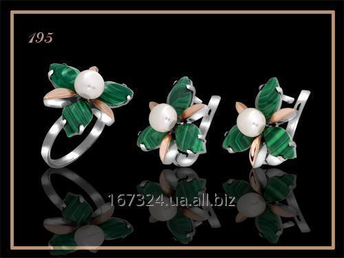 Набор кольцо и серьги с камнями и жемчугом