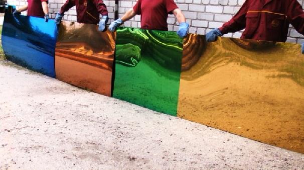 Кровля из листового металла, вакуумное напыление листовой нержавеющей стали зеркальной (или матовой) полировки (лист нержавеющей стали 2м.кв или 3 м.кв)