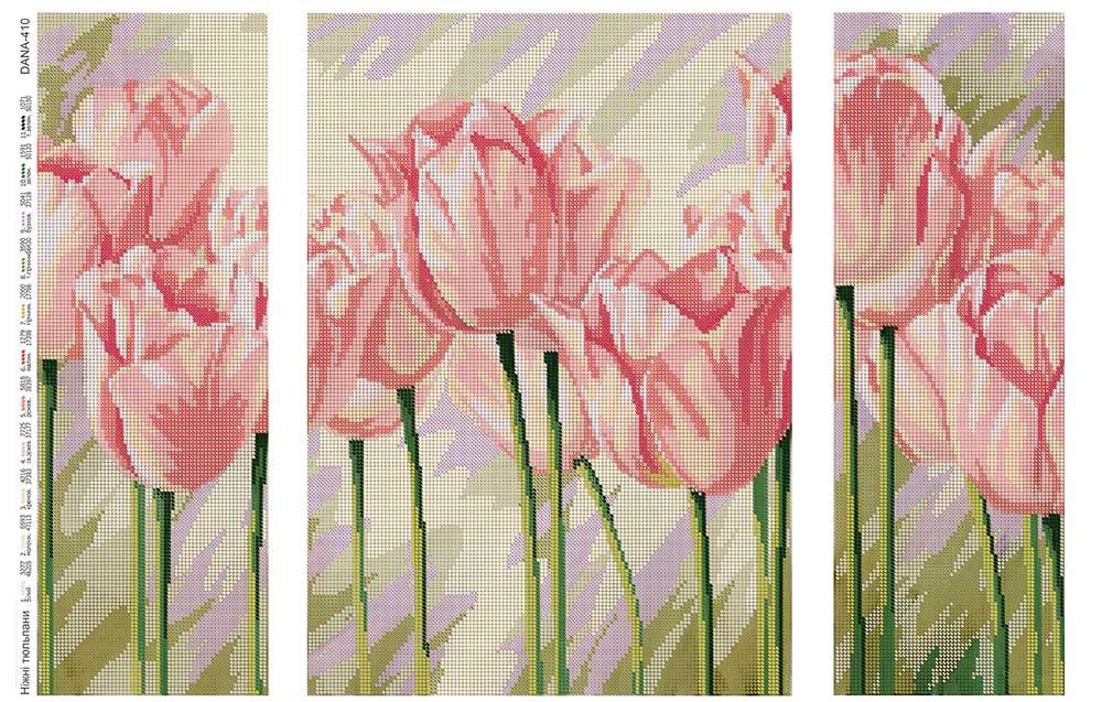 Cхема заготовка для полной вышивки бисером, триптих Нежные тюльпаны
