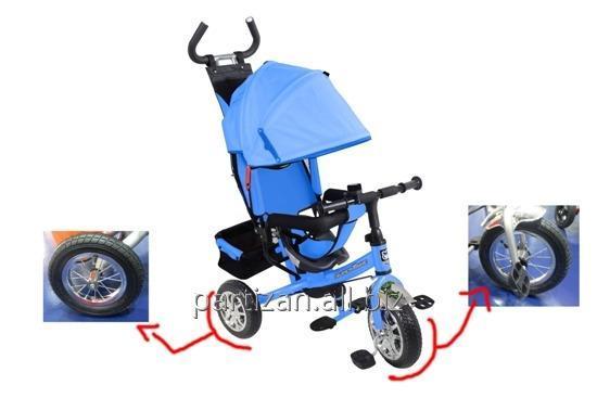 Велосипед 3-х колес VT1437 СИН 1шт складной козырек, колеса со спицами