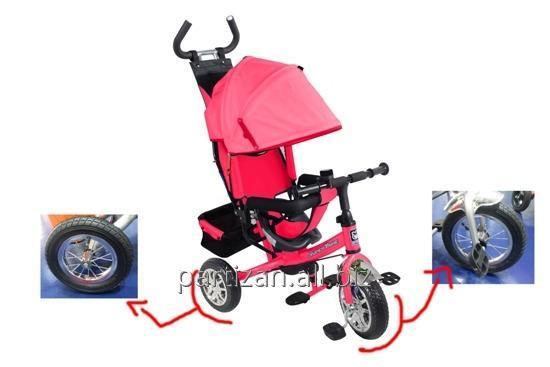 Велосипед 3-х колес VT1437 КР 1шт складной козырек, колеса со спицами
