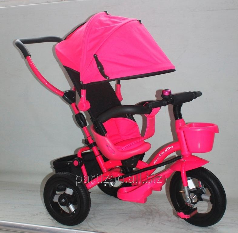 Велосипед 3-х колес AT0103 РОЗ 1шт надувные колеса 12 и 10,складной козырек,складная подножка