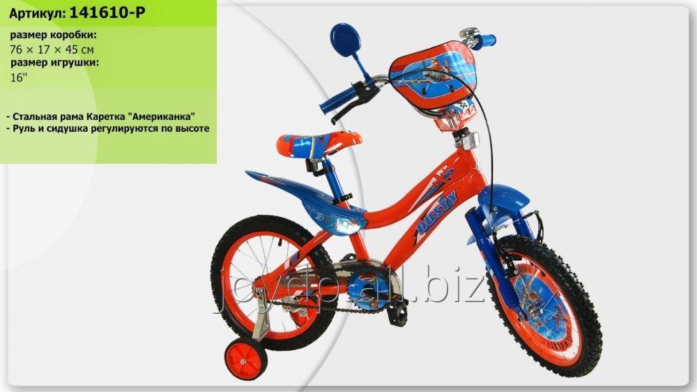 Велосипед 2-х колес 16 141610-P 1шт со звонком, зеркалом, с вставками в колесах