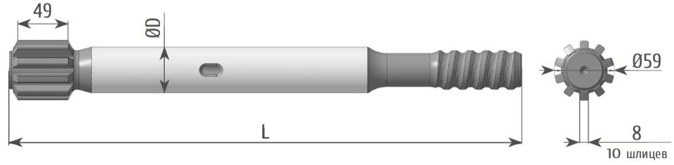 Хвостовики и муфты для гидроперфораторов