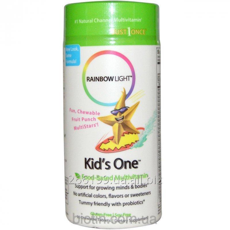 Купить Мультивитамины для детей на фруктовой основе, Rainbow Light, Kid's One, MultiStars, 30 жевательных таблеток