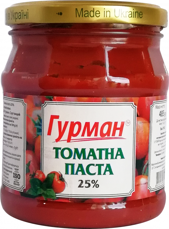 """Томатная паста """" Гурман """" Нетто: 485 г"""