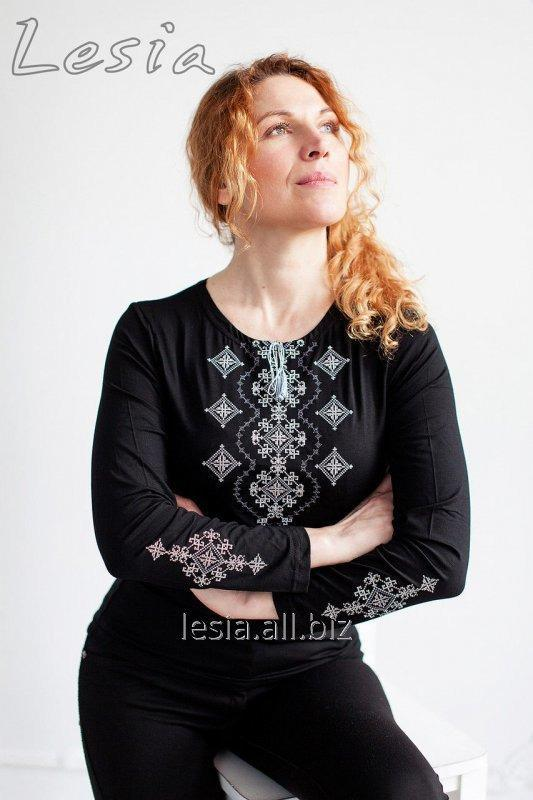 Жіноча вишиванка Хвилька сіра код 1131300