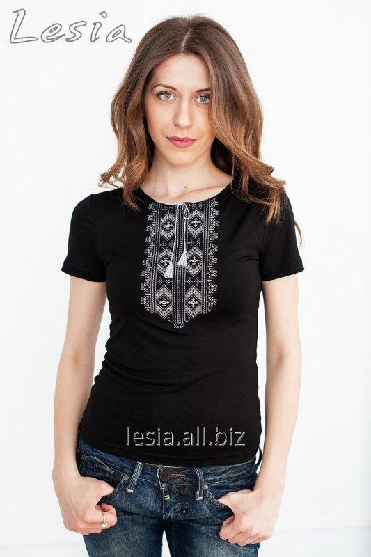 Жіноча футболка з вишивкою Гуцулка сіра код 1110030