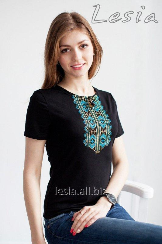 Жіноча футболка з вишивкою Гуцулка бірюза код 1110036
