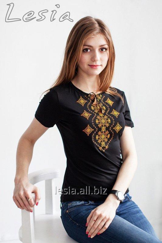 Жіноча футболка з вишивкою Хвилька оранж код 1110302