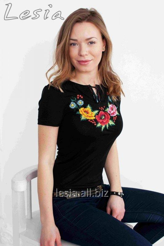 Жіноча футболка з вишивкою Мальви код 1110321