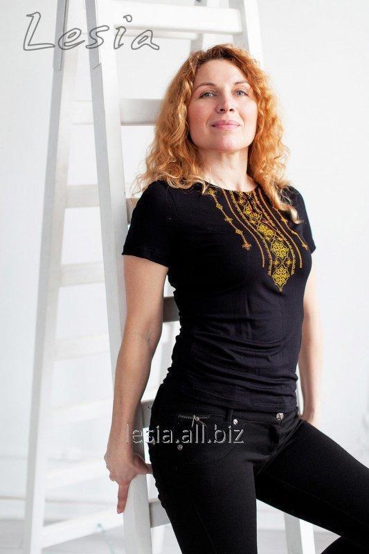 Жіноча футболка з вишивкою Стебнівка оранж код 1110342