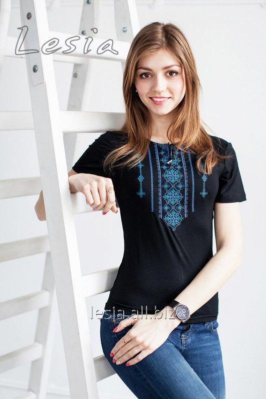 Жіноча футболка з вишивкою Стебнівка синя код 1110346
