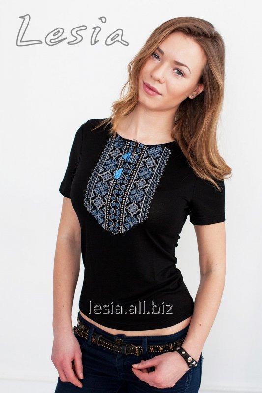 Жіноча футболка з вишивкою Мережка синя код 1110555