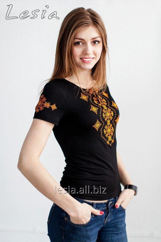 Жіноча футболка з вишивкою Хвилька оранж код 1111302
