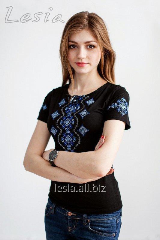 Жіноча футболка з вишивкою Хвилька синя код 1111305