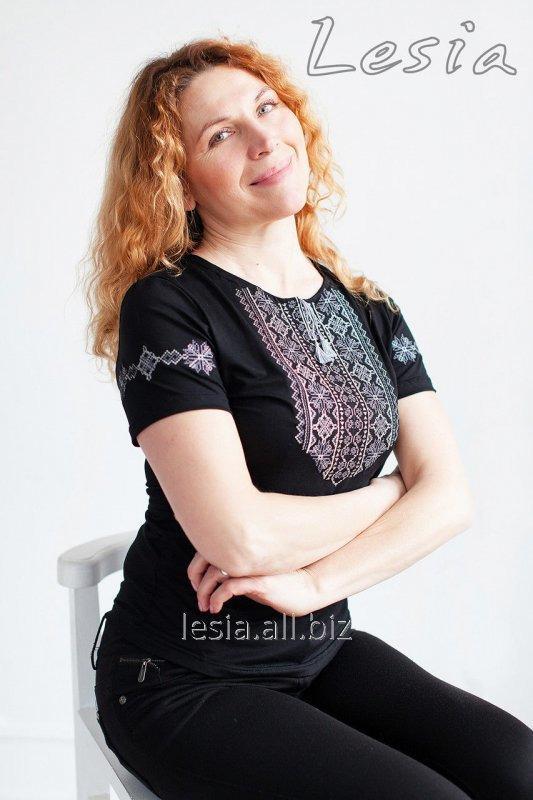 Жіноча футболка з вишивкою Мережка сіра код 1111550