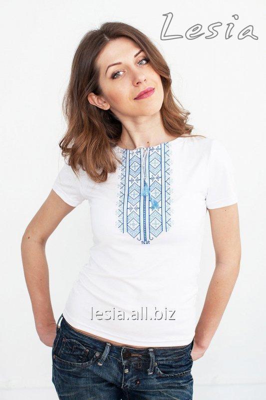 Жіноча футболка з вишивкою Гуцулка синя код 1210035