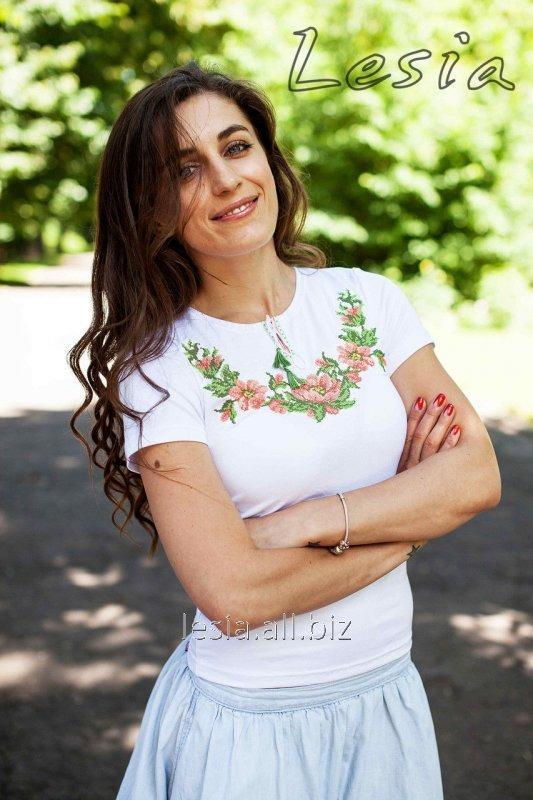 Жіноча вишиванка Вінок Дунаю персиковий код 1210053