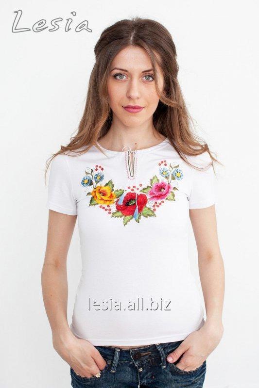 Жіноча футболка з вишивкою Мальви код 1210321
