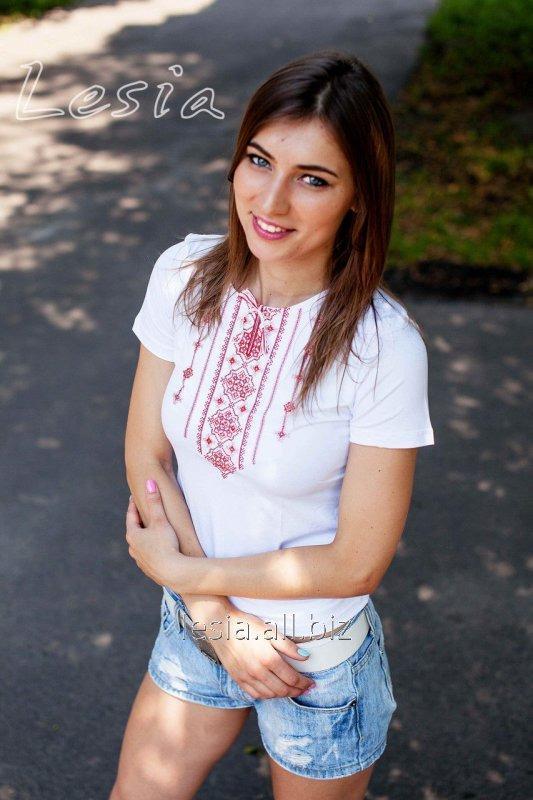 Жіноча футболка з вишивкою Стебнівка червона код 1210341