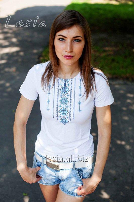 Жіноча футболка з вишивкою Стебнівка синя код 1210346