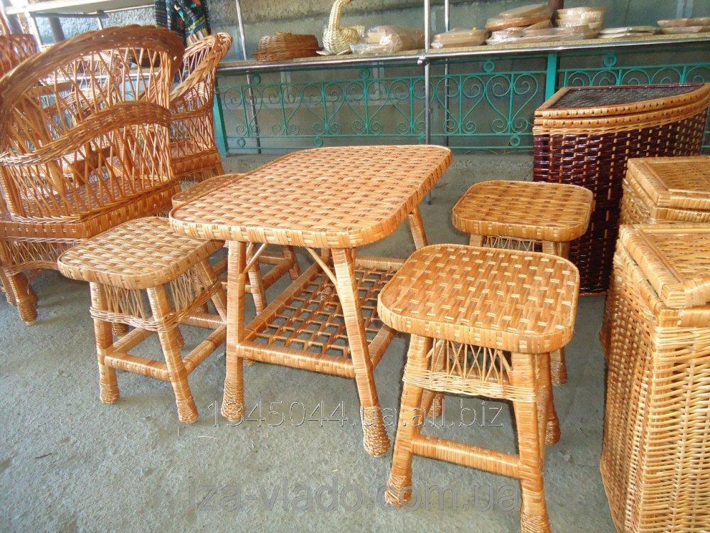 Купить Плетеная мебель из лозы- Набор Кухонныйиз табуреток код 46094863