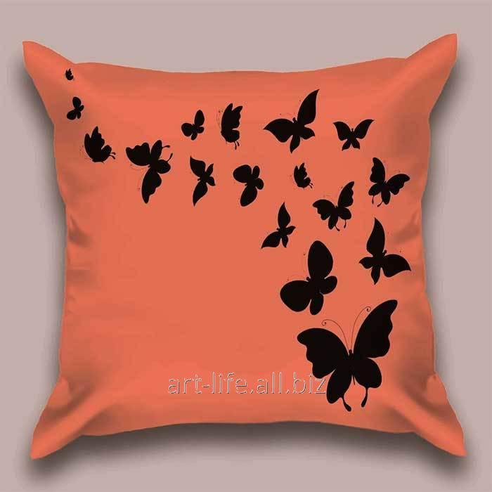 Дизайнерская декоративная подушка Медный полет бабочек, арт. 1Pd-11-50х50_а