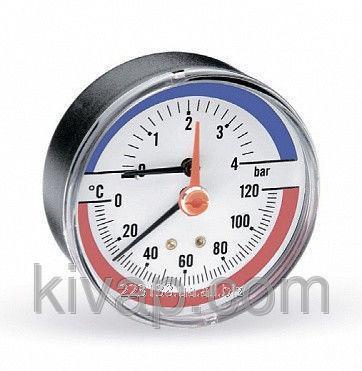 Термоманометр аксиальный, 80, 0-120С, 10 бар
