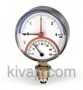 Термоманометр радиальный, 80, 0-120С, 10 бар