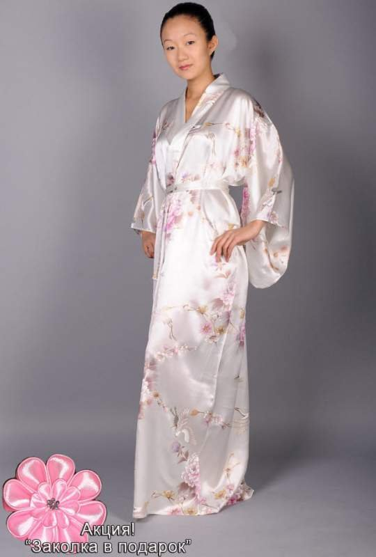 Imperial Garden dressing gown kimono cream, silk buy in Kiev