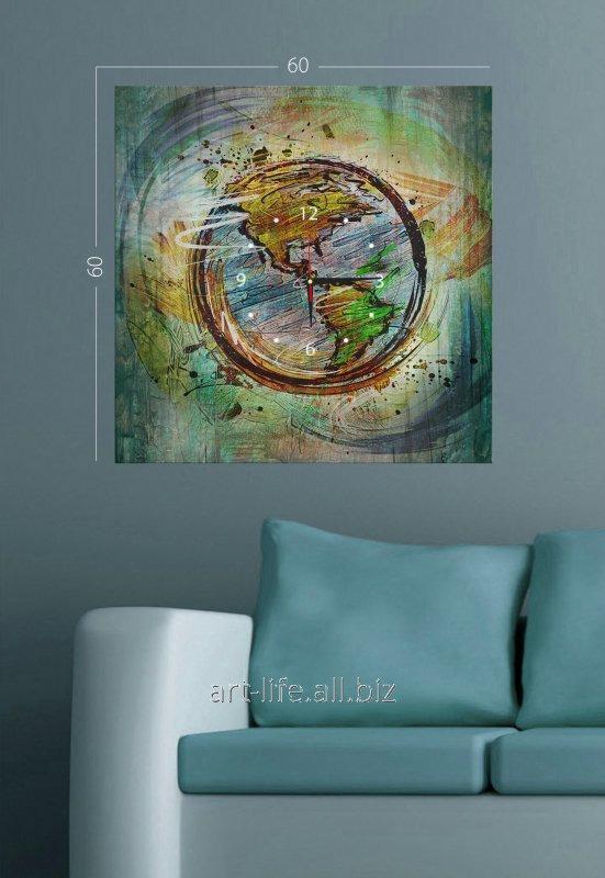 Стильная картина-часы на подрамнике размером 60 см х 60 см, арт. 35C-54-60x60-W