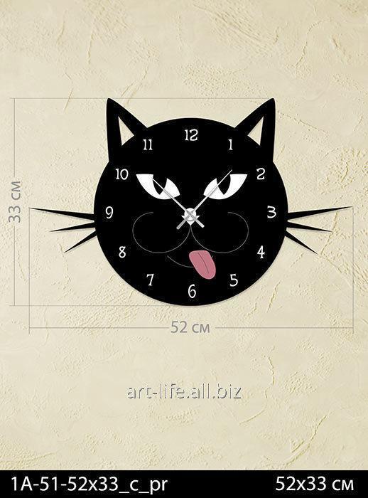 Стильные акриловые настенные часы 52x33, арт. 1A-51-52x33_c_pr