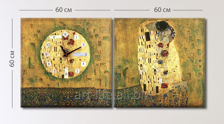 Уникальная стилизация картины Г. Климта Поцелуй с ручной дописью красками, арт. 3C-95-2P-W-kr