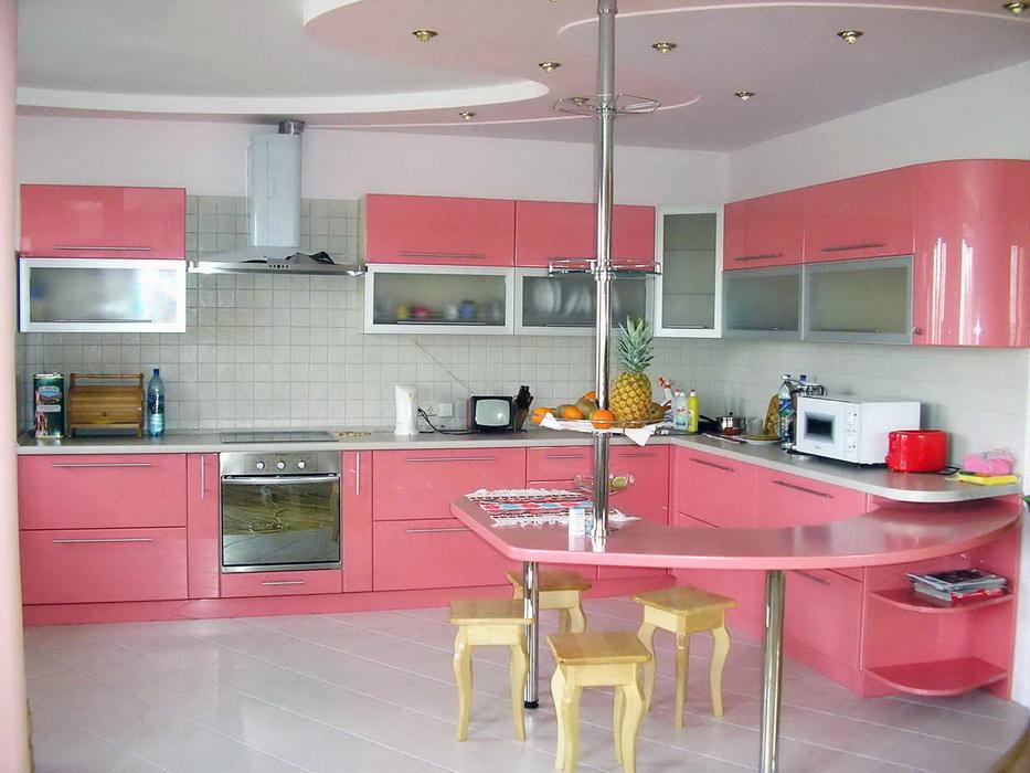 Кухня угловая розовая, кухни модерн, кухня в стиле модерн