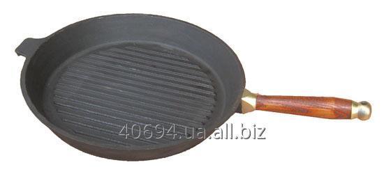 Сковорода гриль чугунная 30 см с деревянной ручкой